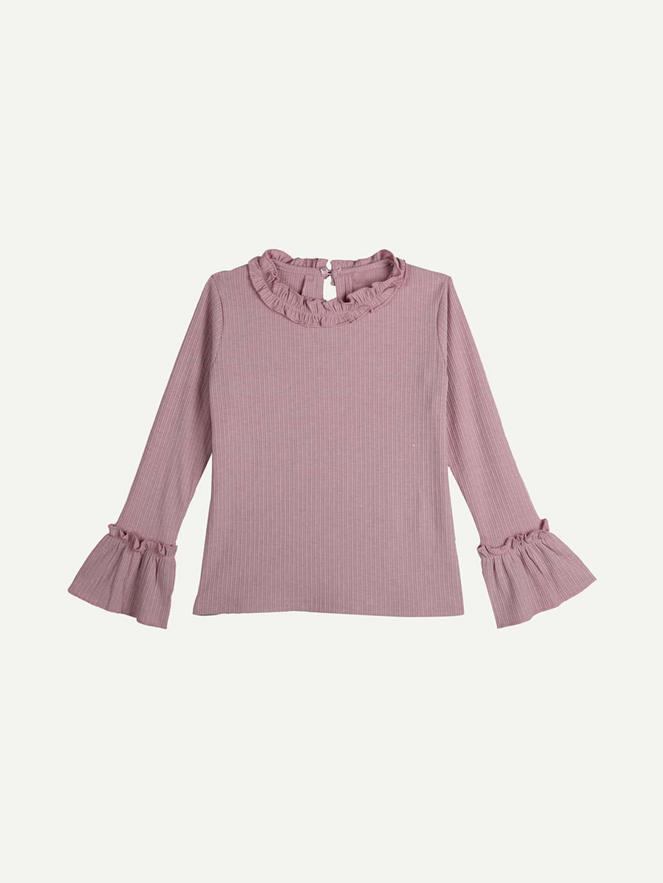 Kids Ribbed Plain Frill Blouse kids plain denim blouse