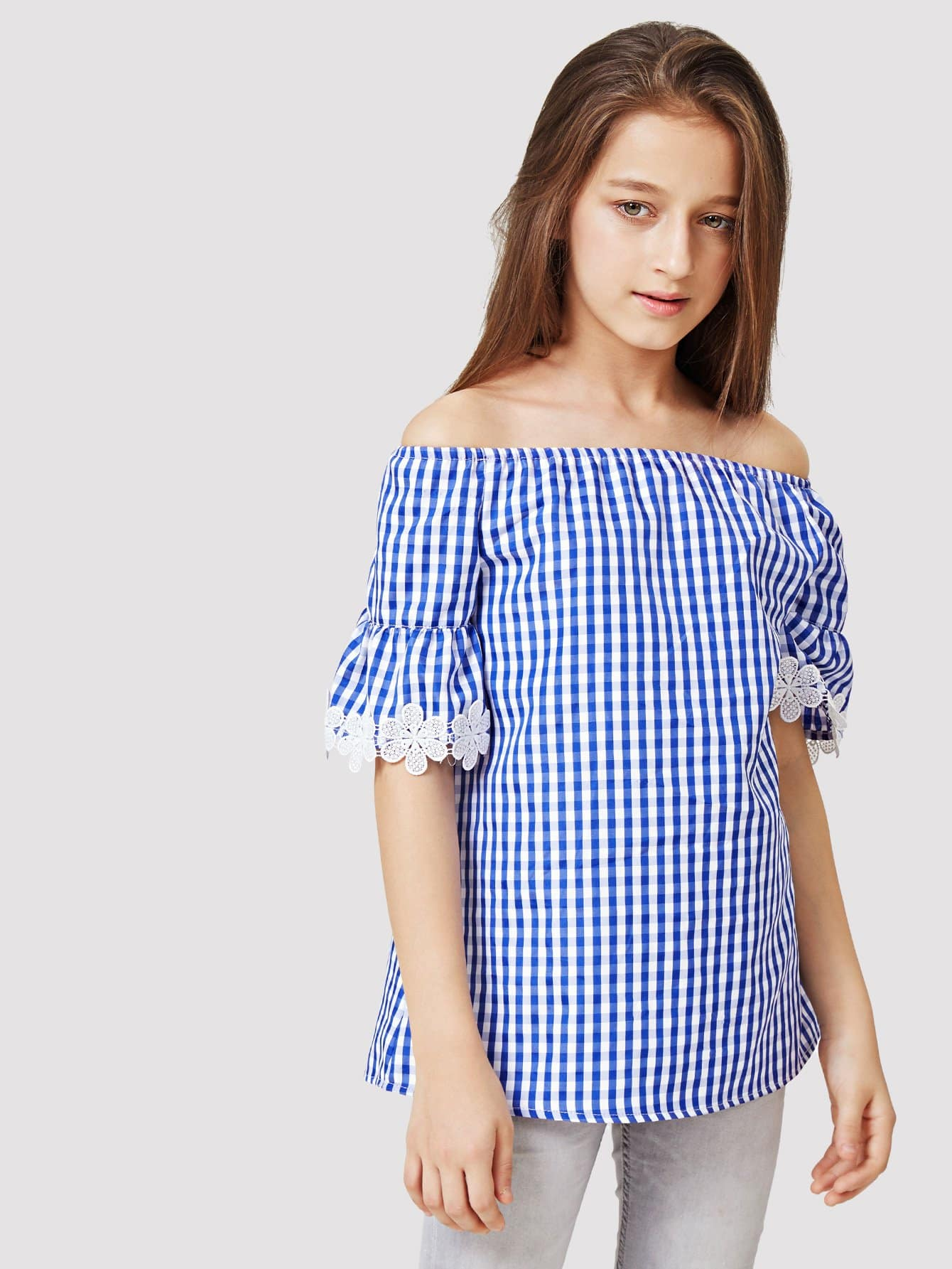 Kids Contrast Lace Off The Shoulder Gingham Blouse lace crochet contrast off shoulder stripe blouse