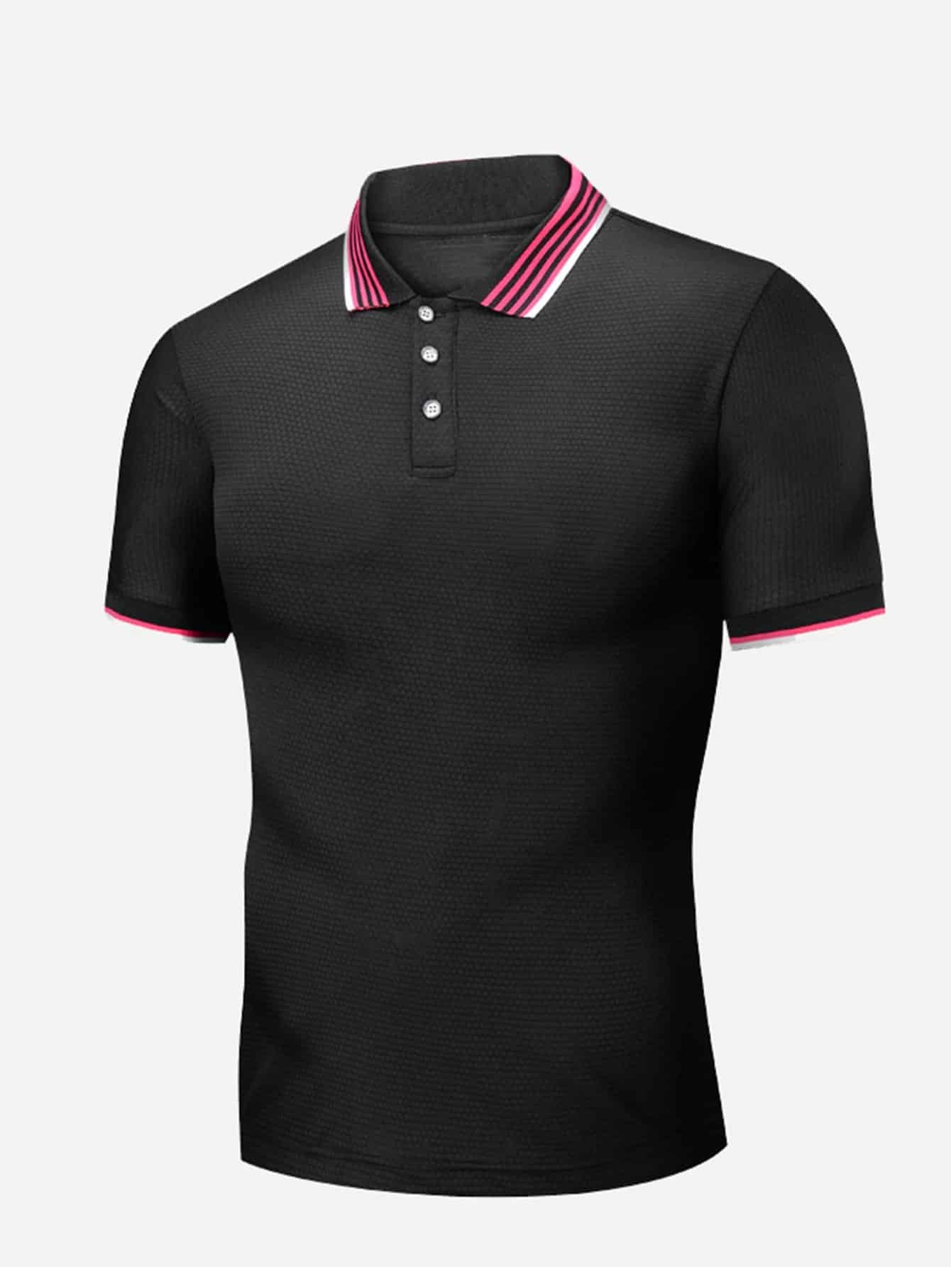 Men Striped Neck Polo Shirt men striped neck polo shirt
