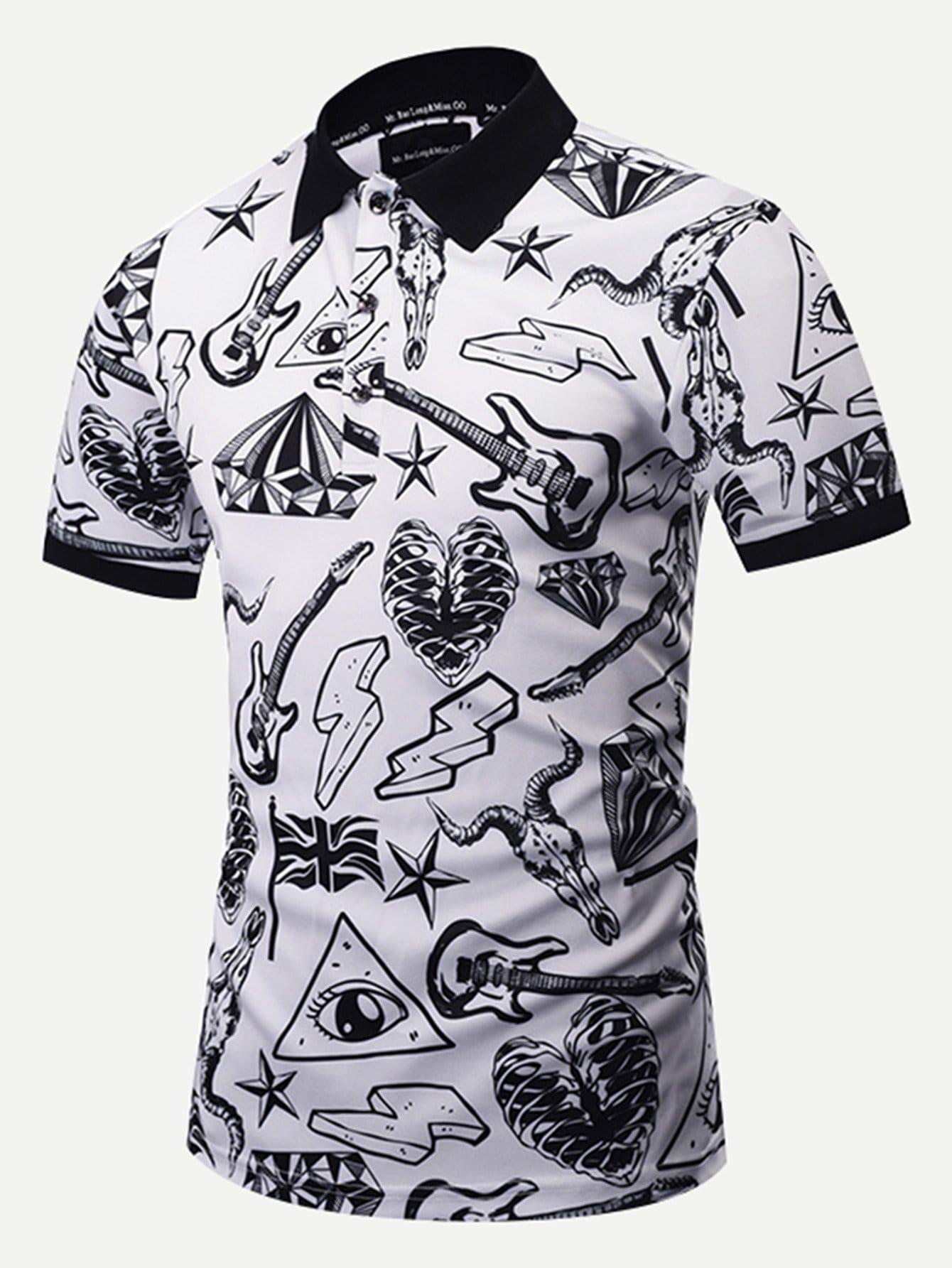 Мужчины 3D граффити рубашки поло