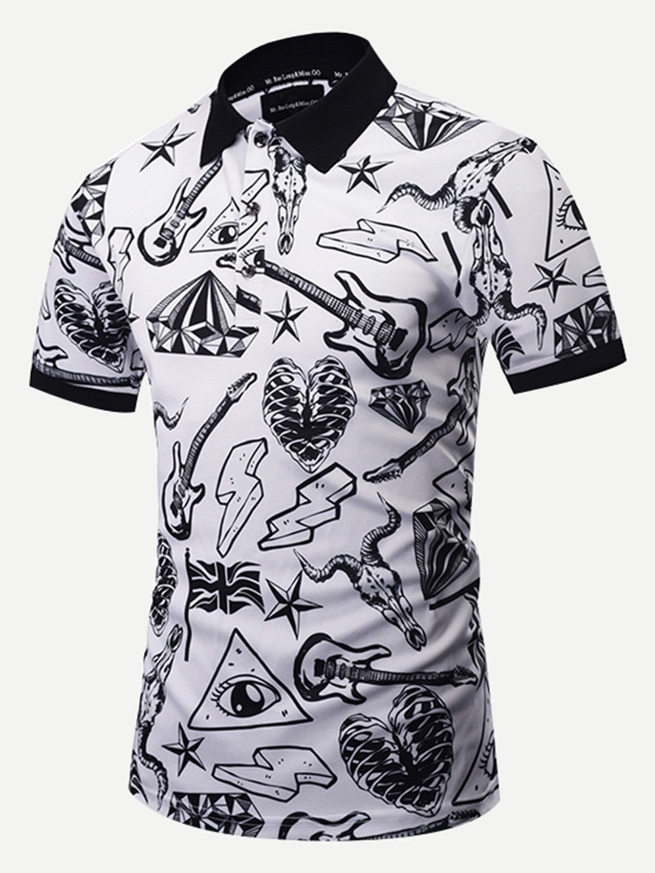 Men 3D Graffiti Polo Shirts