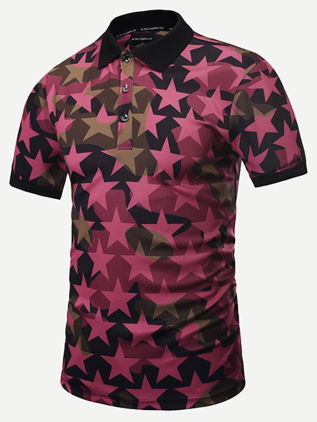 Купить Рубашка поло с принтом звезды для мужчин, null, SheIn
