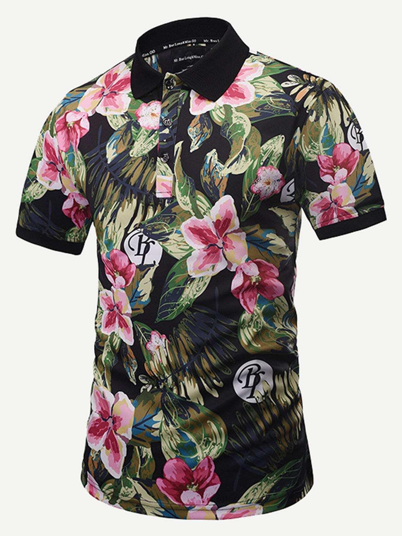 Мужчины Письмо И Цветочный Принт Рубашка Поло