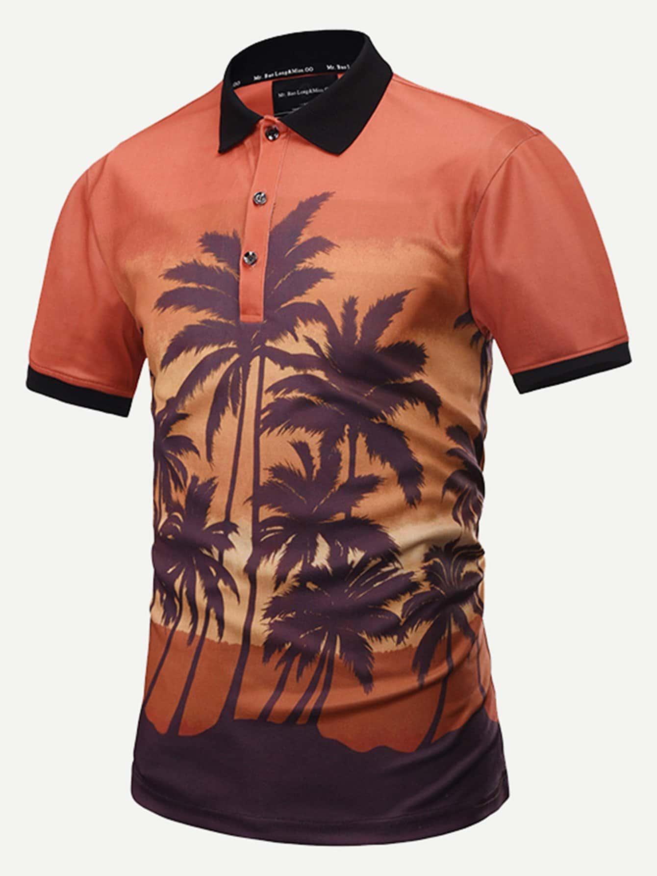 Купить Рубашка поло с принтом тропики для мужчин, null, SheIn