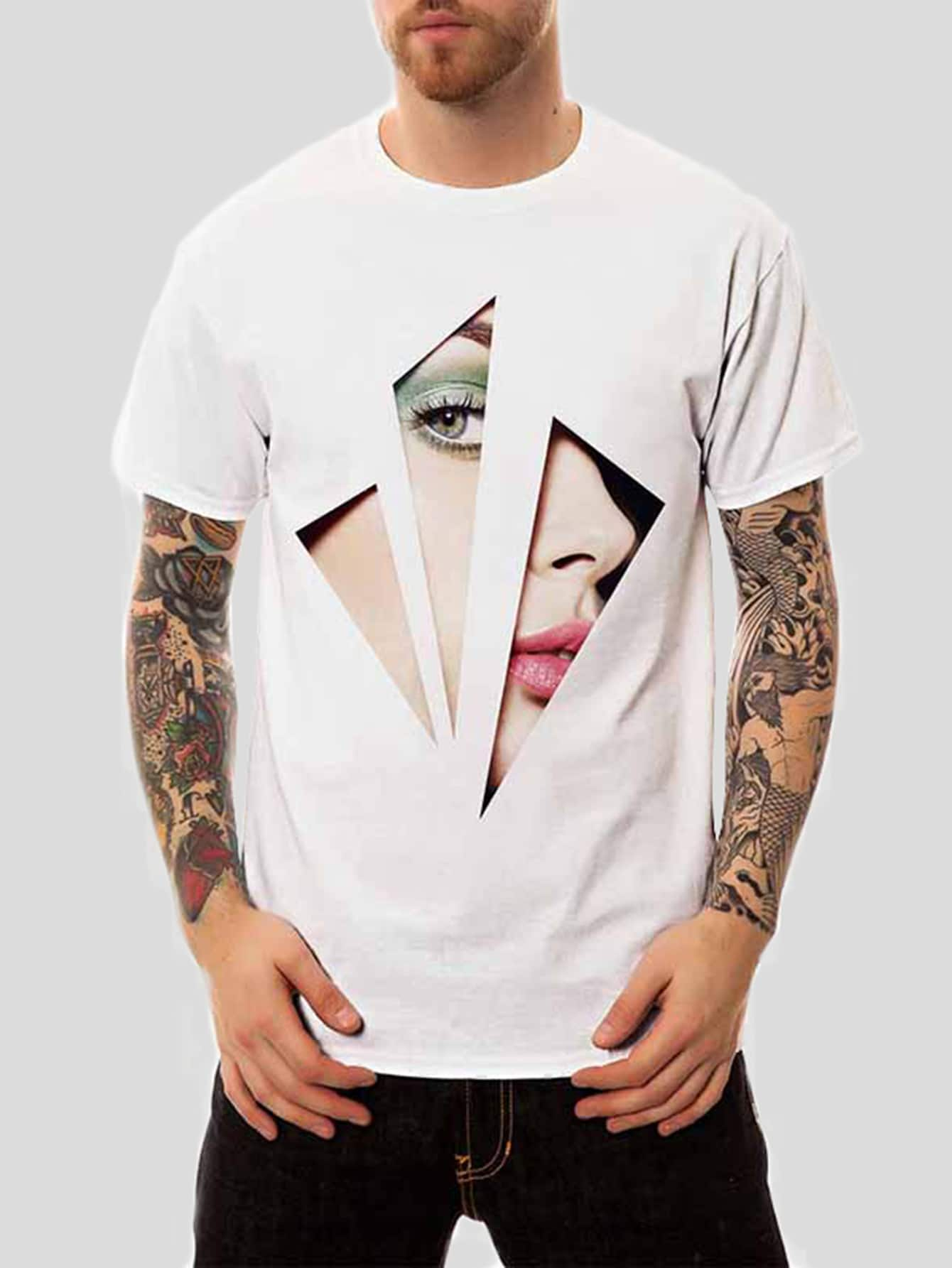 Men Figure Print Tee men scratches print tee