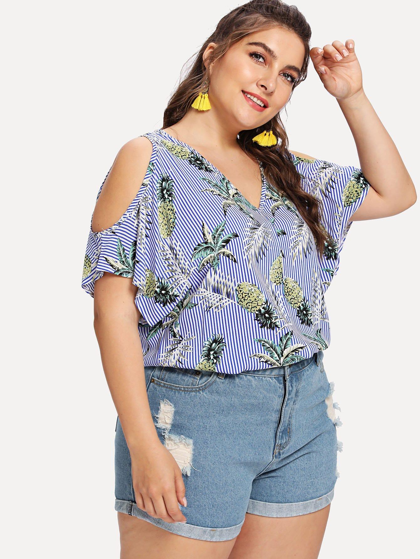 Plus Tropical Print Open Shoulder Striped Blouse
