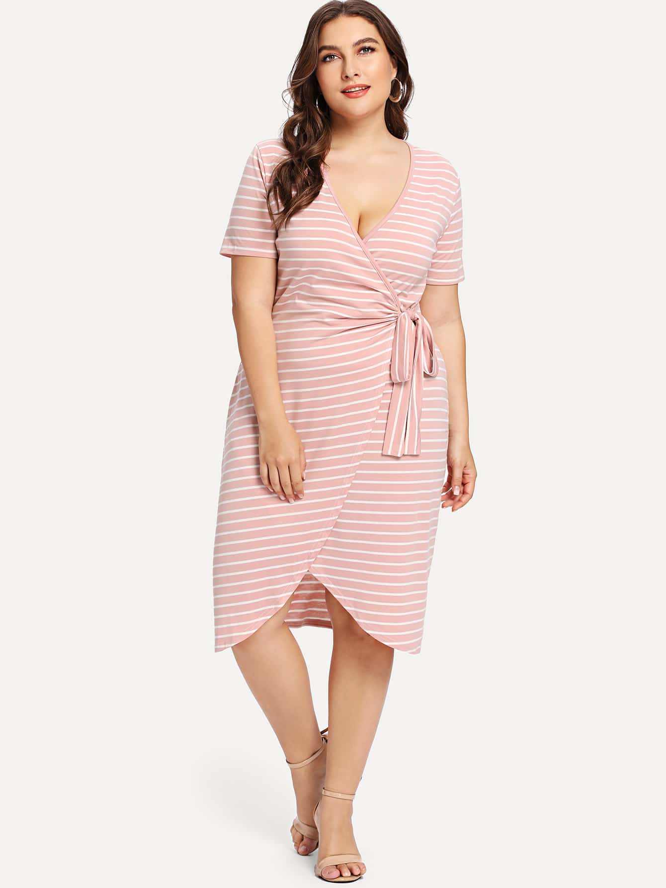 Plus Striped Knot Detail Wrap Dress