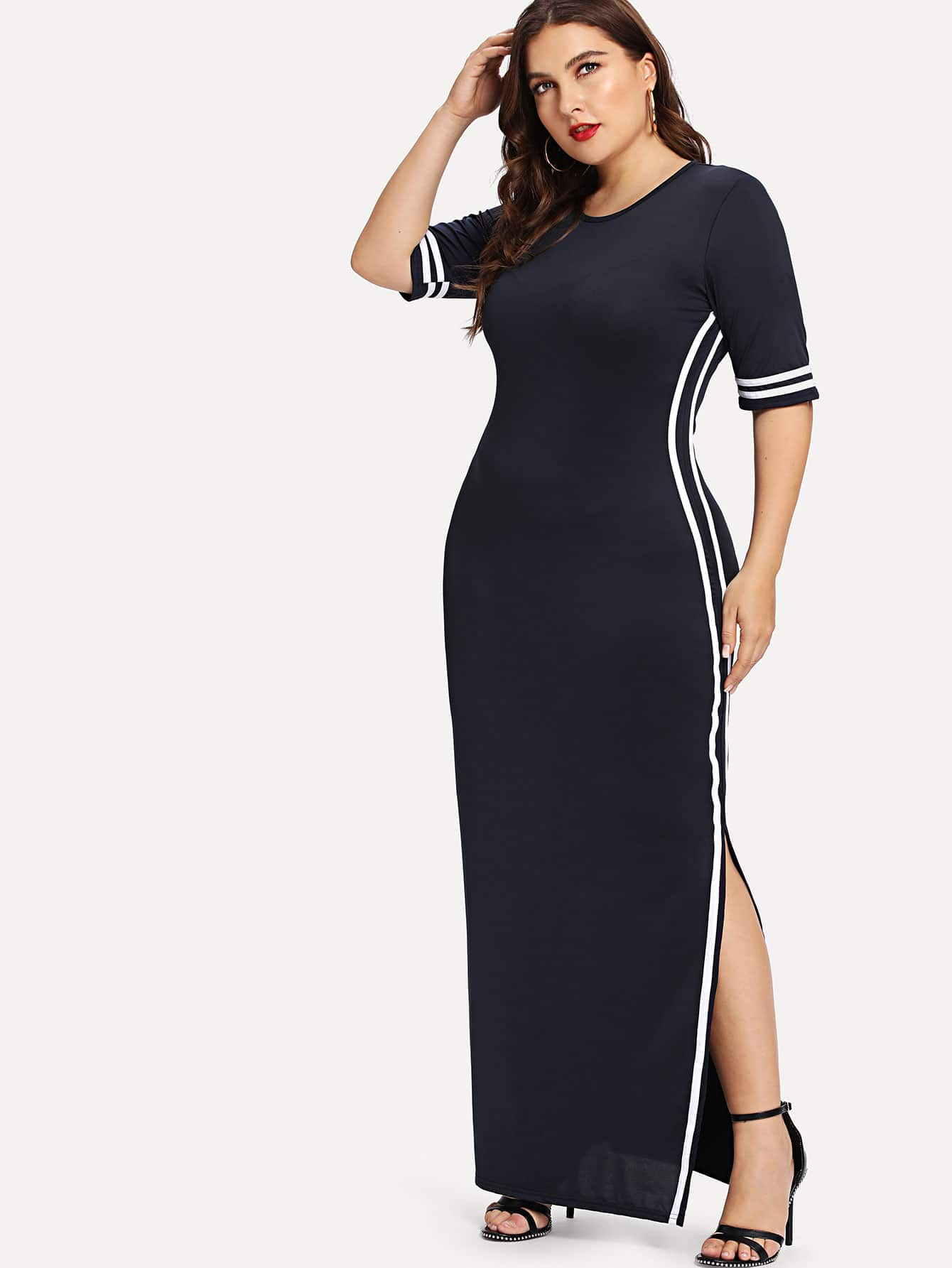 Striped Tape Detail Split Dress replay lx49 8 5x20 5x150 d110 1 et60 s