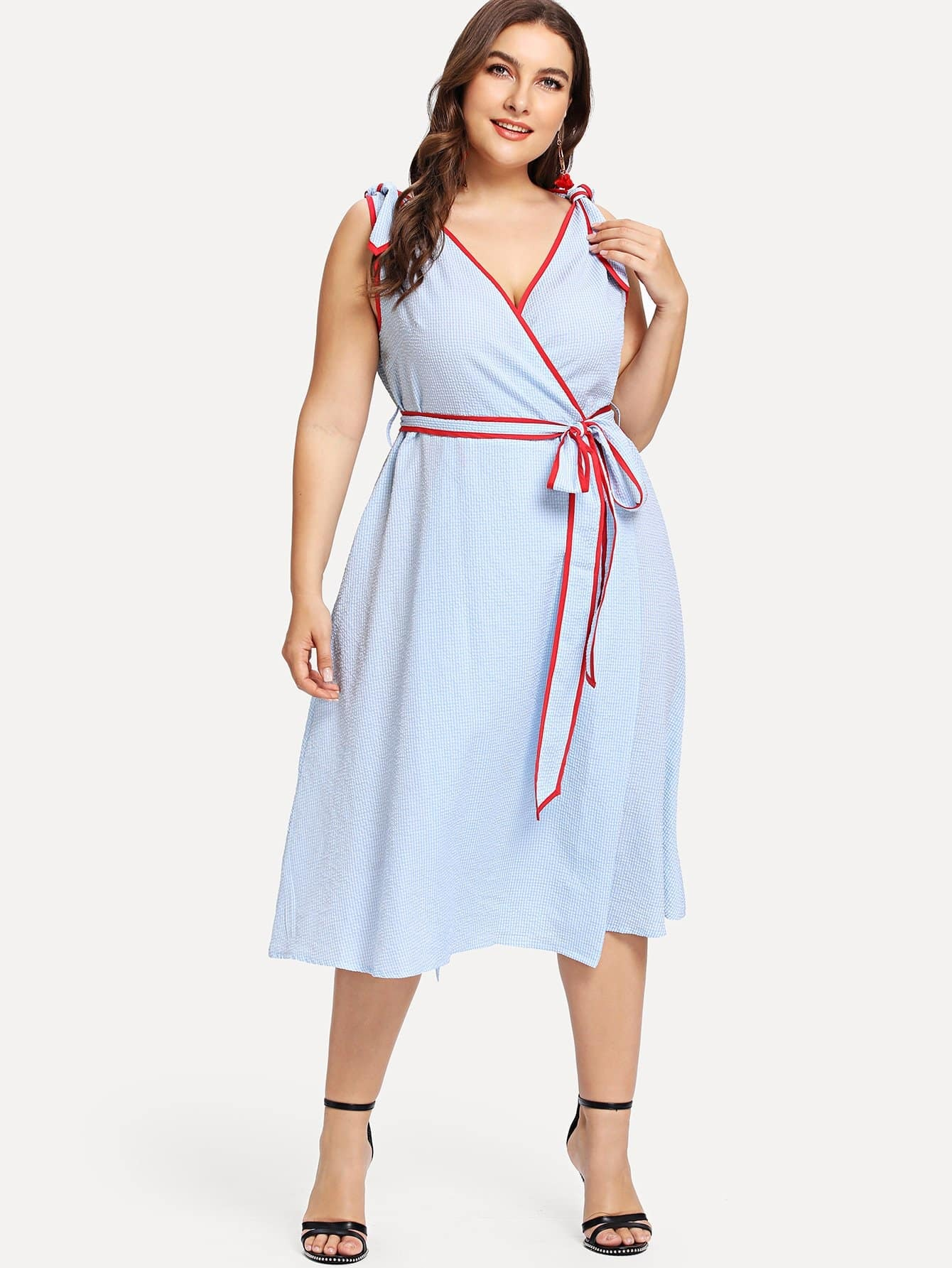Contrast Binding Knot Detail Wrap Dress 3000pcs free shipping si2300ds si2300 si2300ds t1 ge3 sot23 3 mosfet 30v 3 6a n ch mosfet