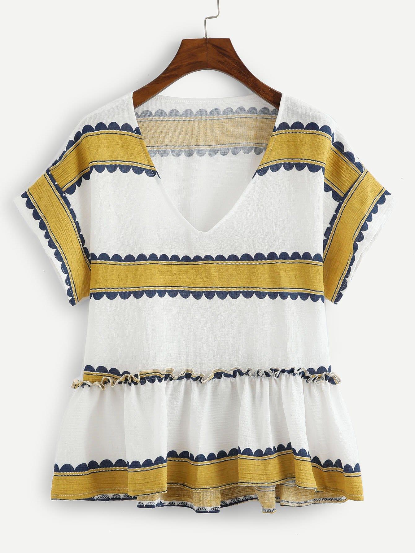 Contrast Print Pep Hem Blouse contrast striped button back pep hem blouse