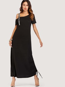 Asymmetrical Shoulder Tee Dress