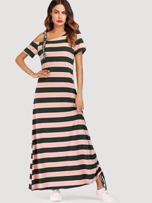 Asymmetrical Shoulder Striped Tee Dress