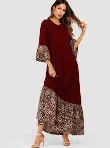 Contrast Leopard Maxi Dress