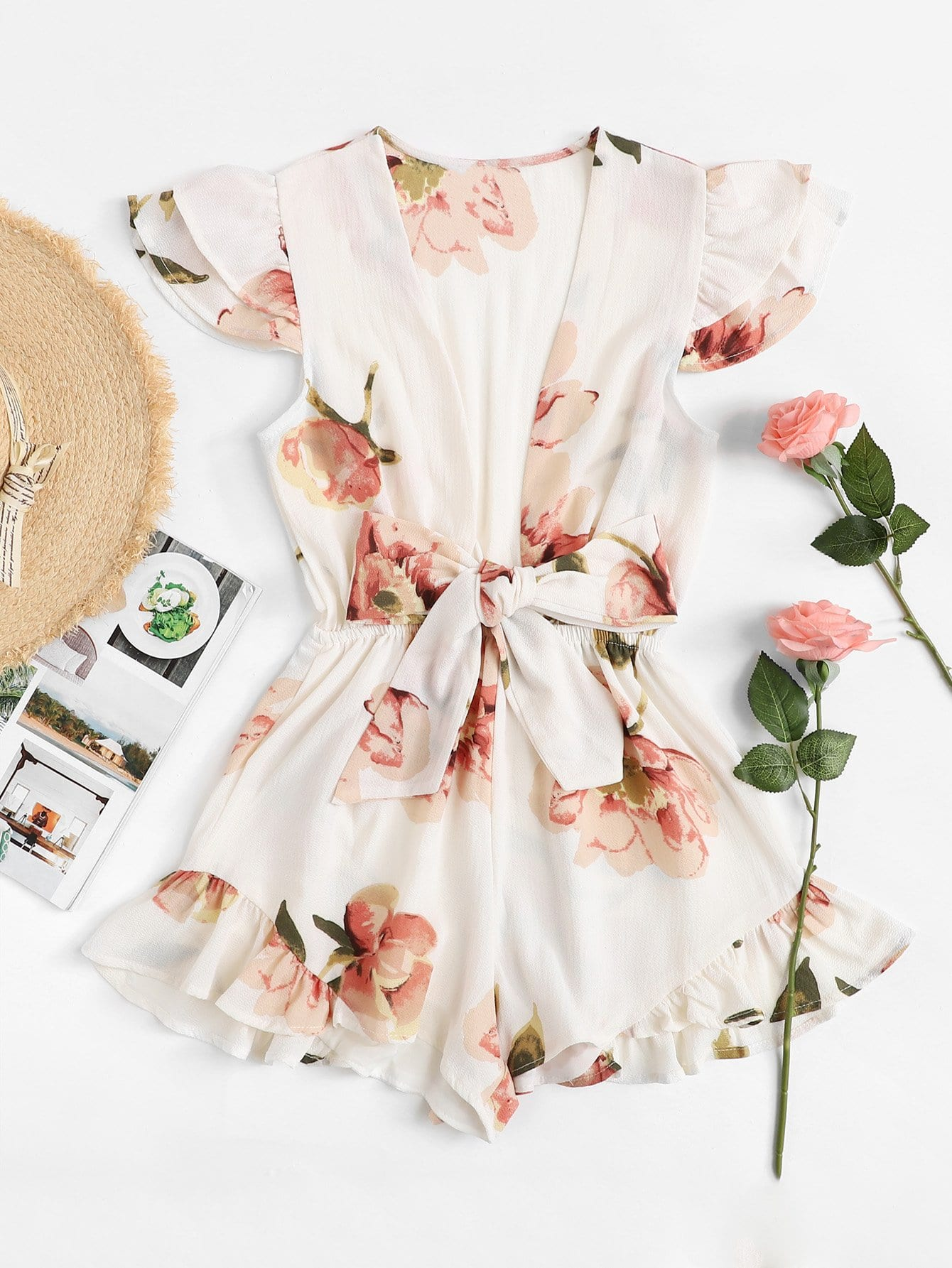 Frill Trim Bow Tie Front Floral Romper frill trim bow tie front pants