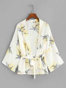 Self Tie Waist Printed Kimono