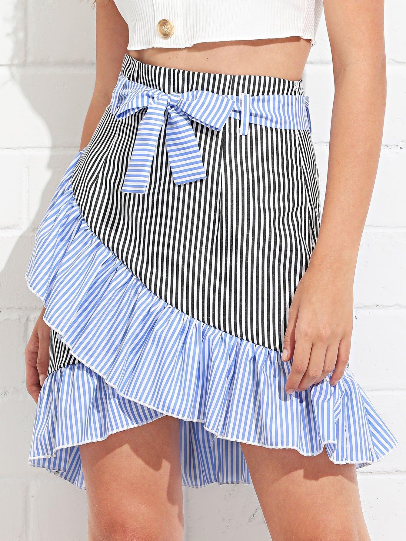 Ruffle Trim Self Tie Waist Striped Skirt self belted ruffle waist pinstripe skirt