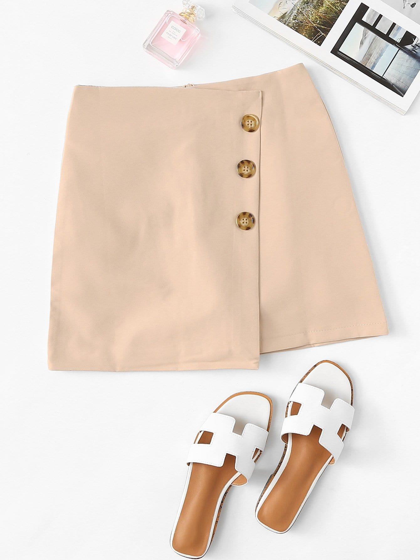 Asymmetrical Hem Single Breasted Skirt girls single breasted raw hem skirt