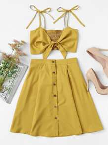 Knot Front Pleated Cami With Skirt