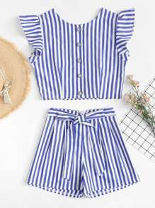 Frill Sleeve Striped Top With Shorts