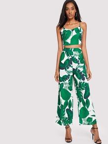Tropic Print Cami With Wide Leg Pants