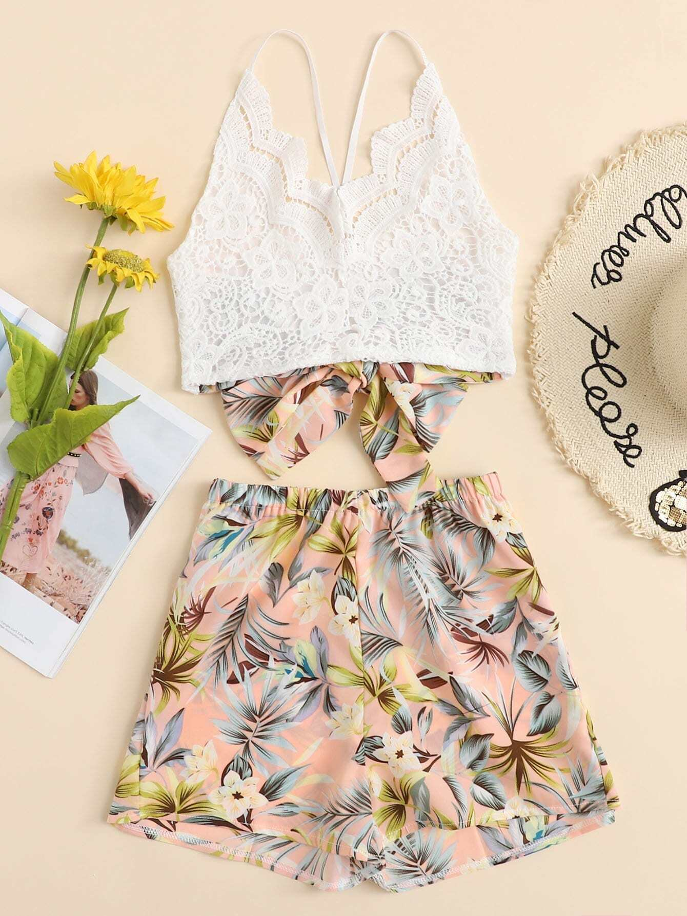 Lace Panel Criss Cross Cami With Floral Shorts lace panel criss cross bow tie back cami top with floral shorts