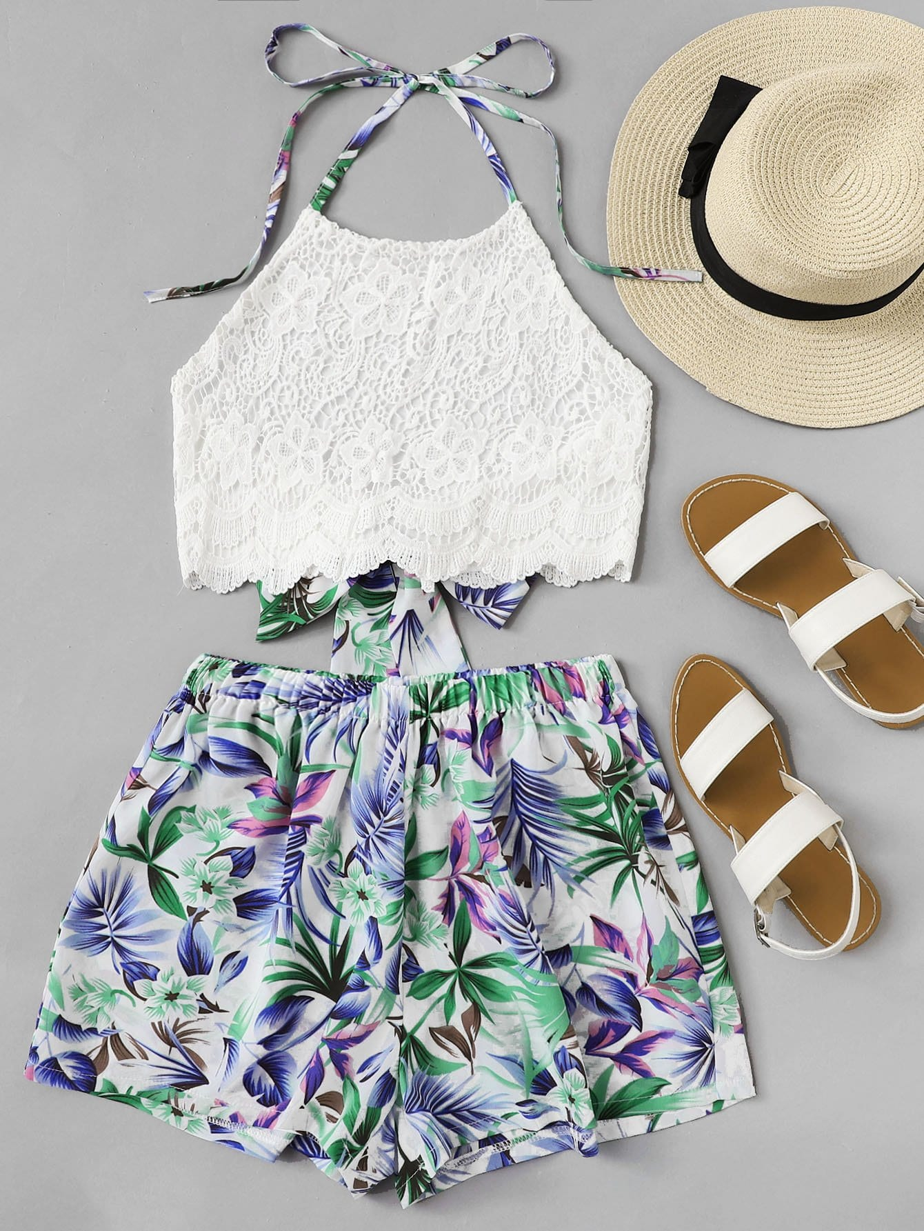 Lace Halter Top With Floral Print Shorts floral applique bowknot top with shorts