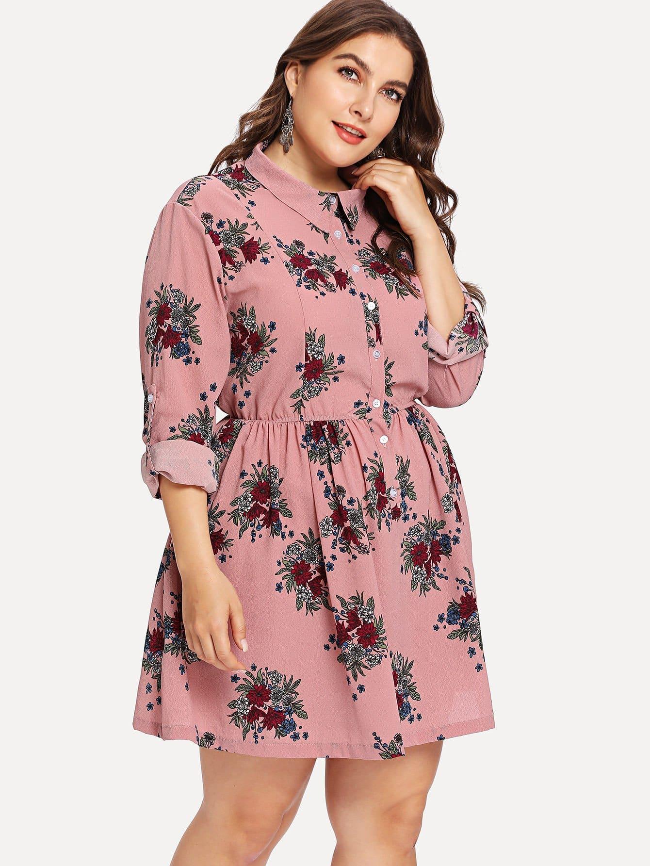 Plus Button Up Half Placket Floral Smock Dress half placket striped smock shirt dress