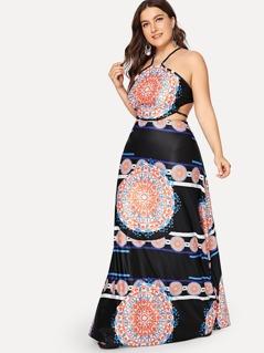 c989adce575 Plus Ornate Print Lace Up Backless Dress