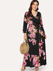 Plus Flower Print Belted Wrap Dress