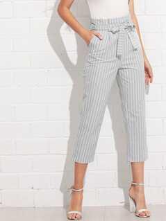 Cuffed Leg Belted Pinstripe Pants