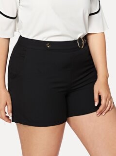 Plus O-Ring Embellished Tailored Shorts