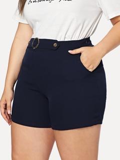 Plus O-Ring Embellished Tailored Shorts