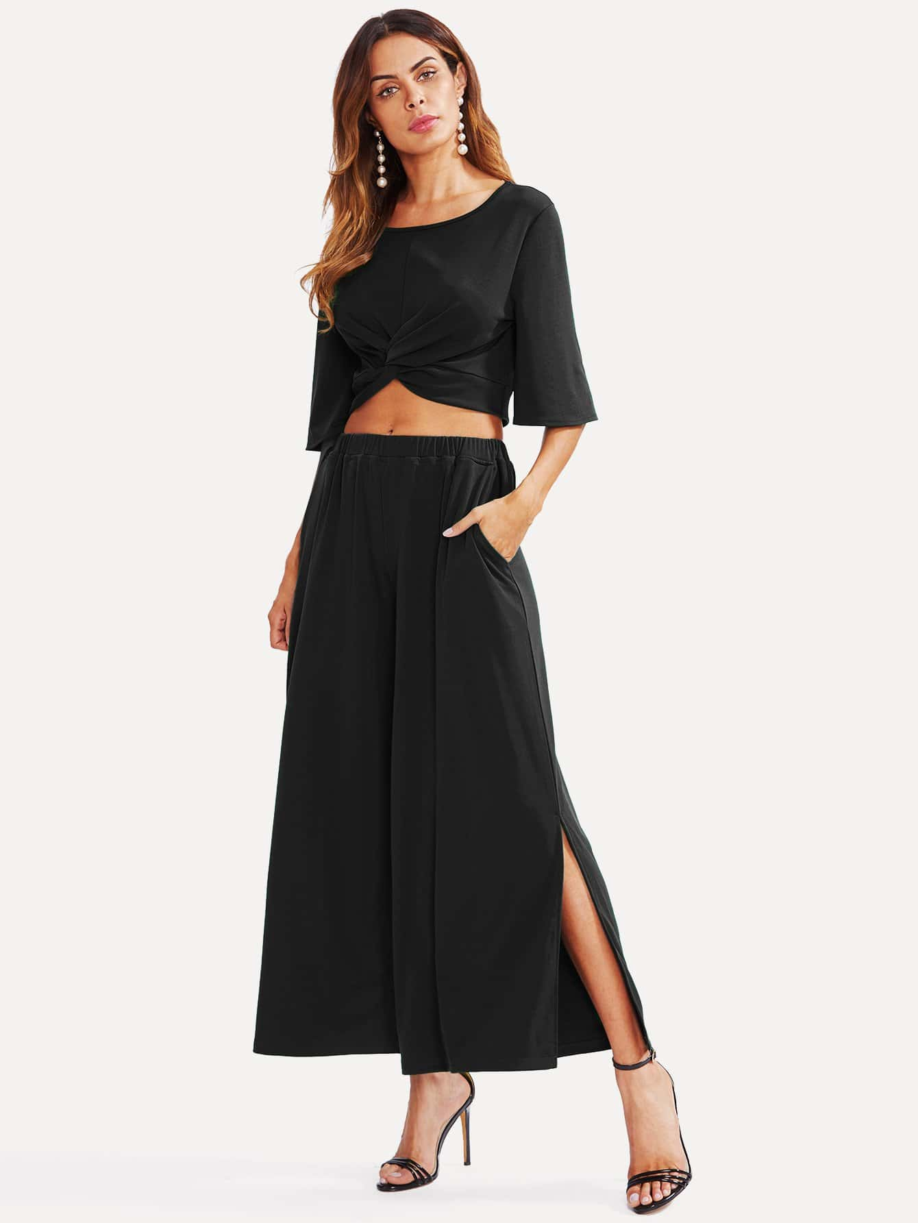 Twist Front Crop Top With Slit Palazzo Pants Set twist front crop cami top