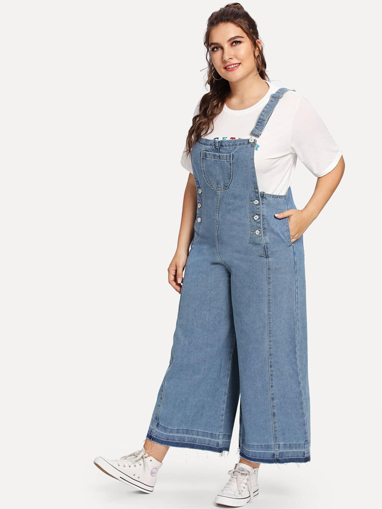 Plus Pocket Front Frayed Hem Denim Overalls appliqued frayed denim overalls