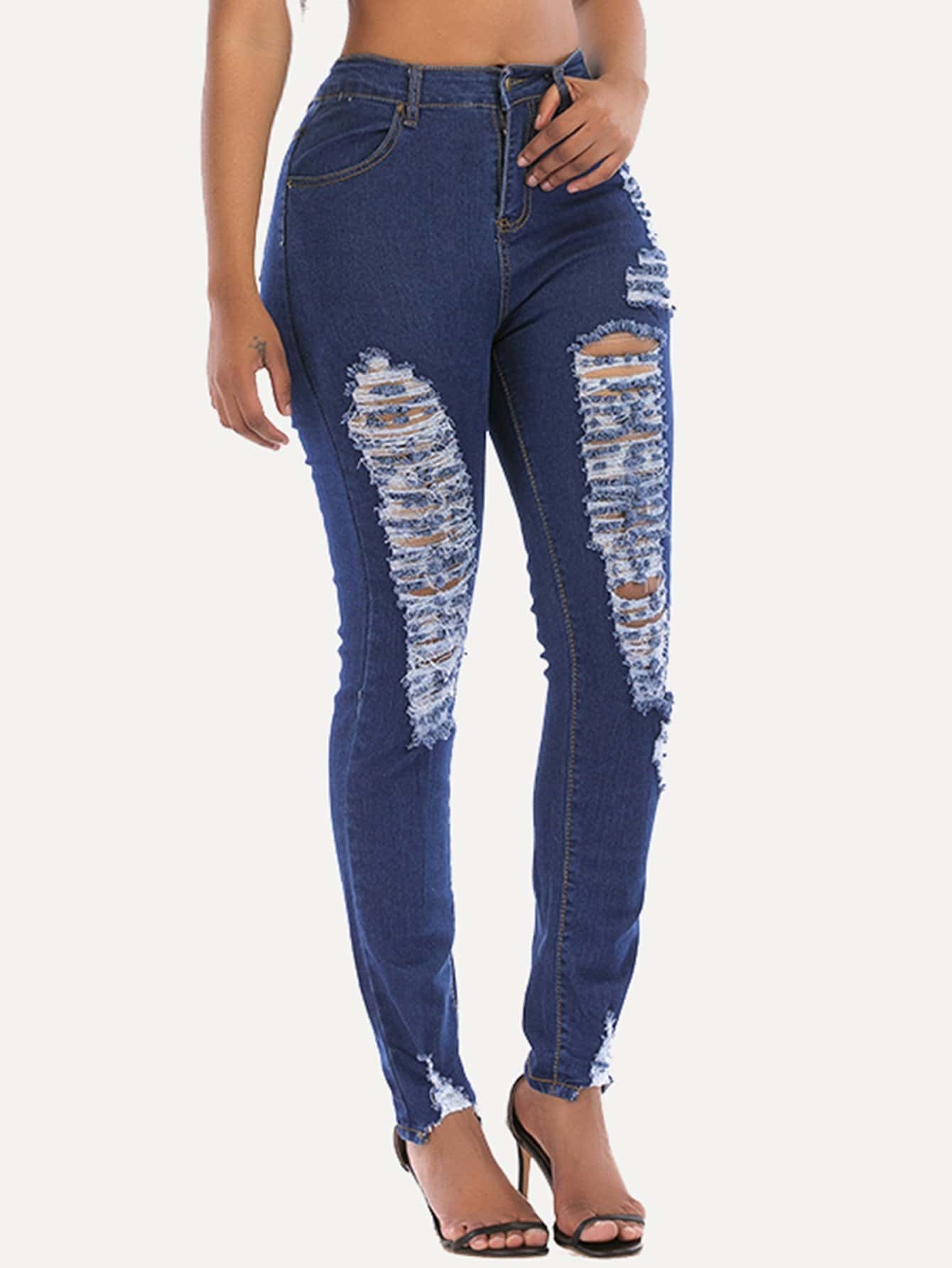 Skinny Ripped Jeans 2016 hole jeans free shipping woman distressed true denim skinny jean pencil pants trousers ripped jeans for women 031