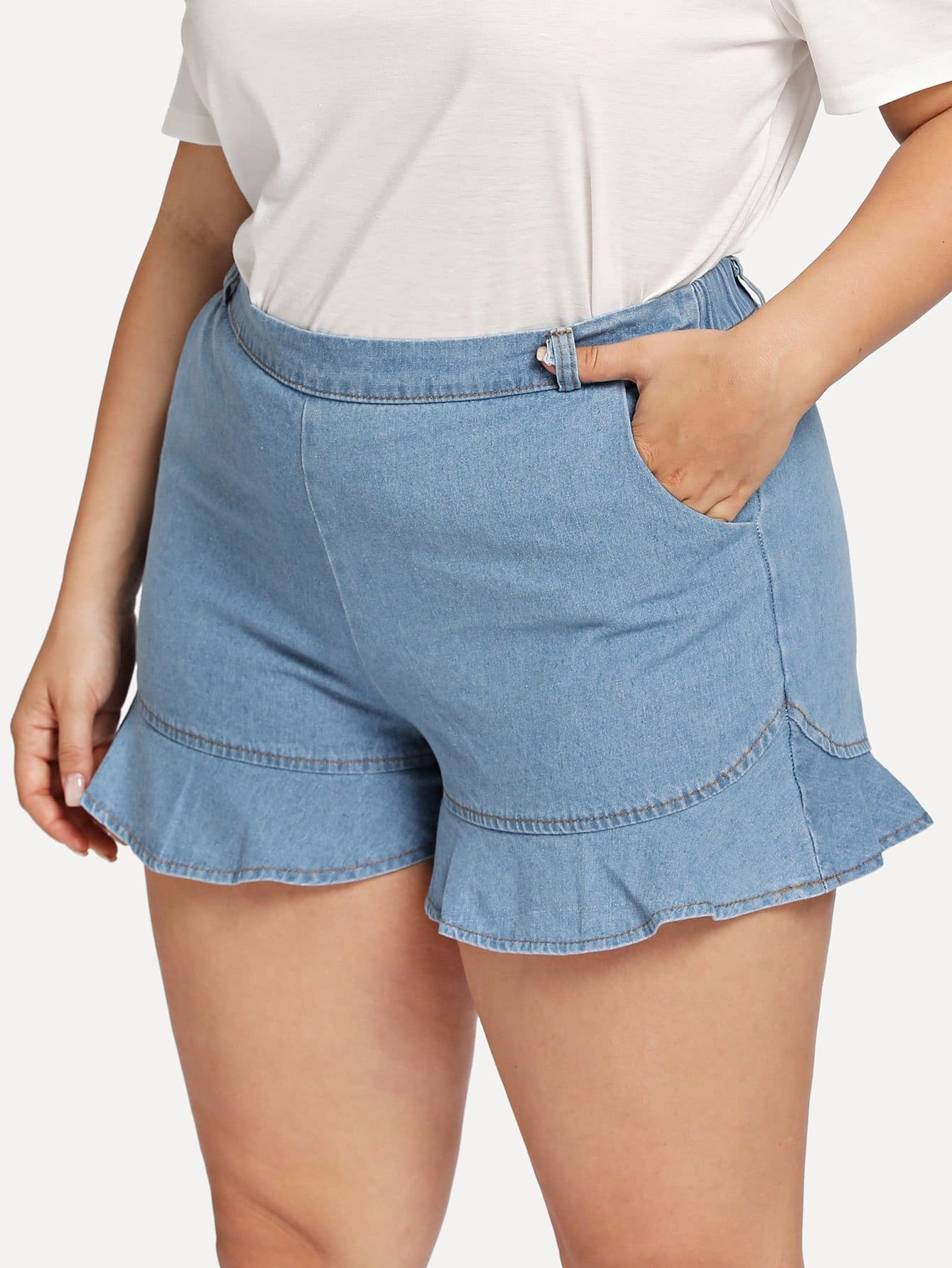 Plus Ruffle Hem Denim Shorts