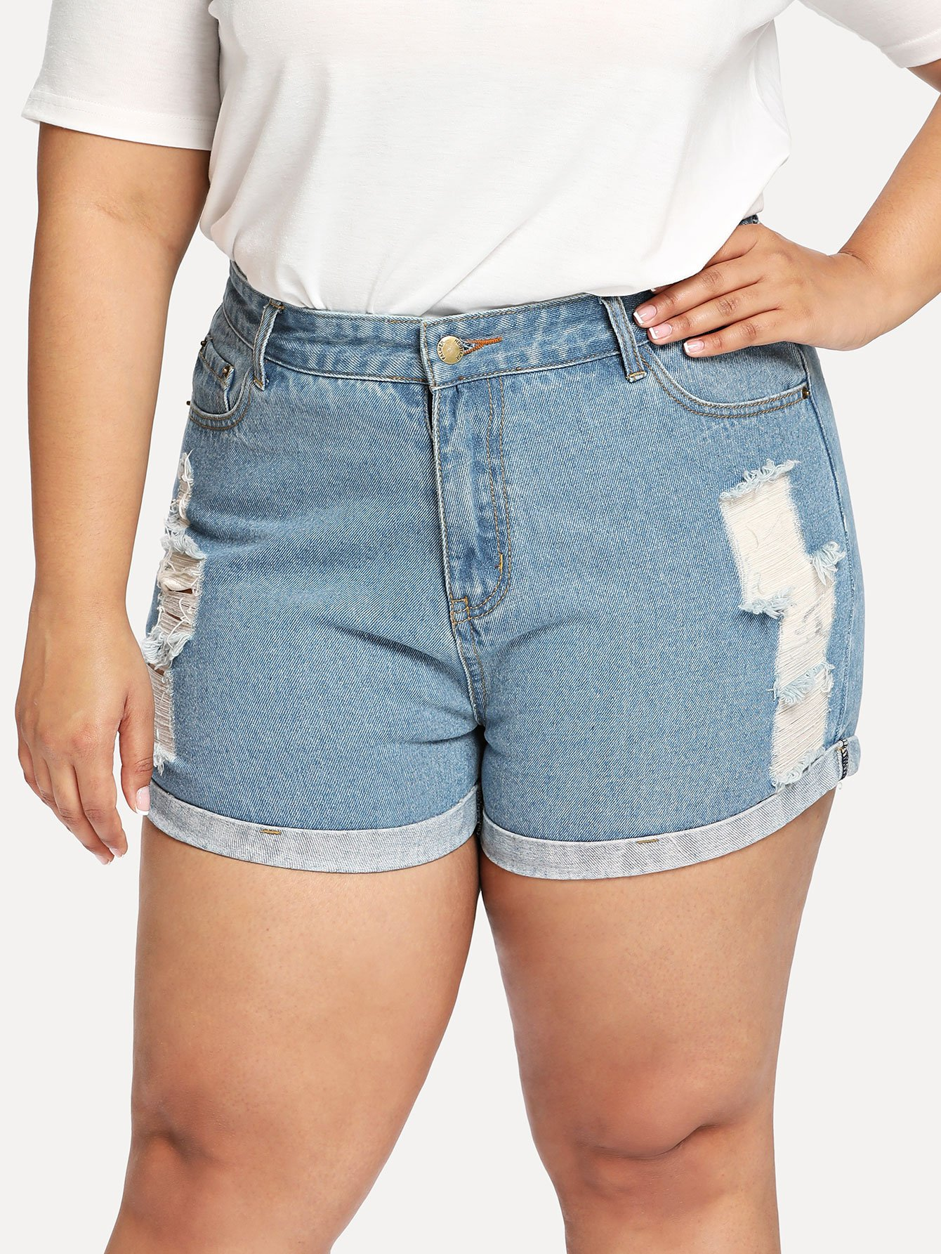 Plus Roll-Up Ripped Denim Shorts