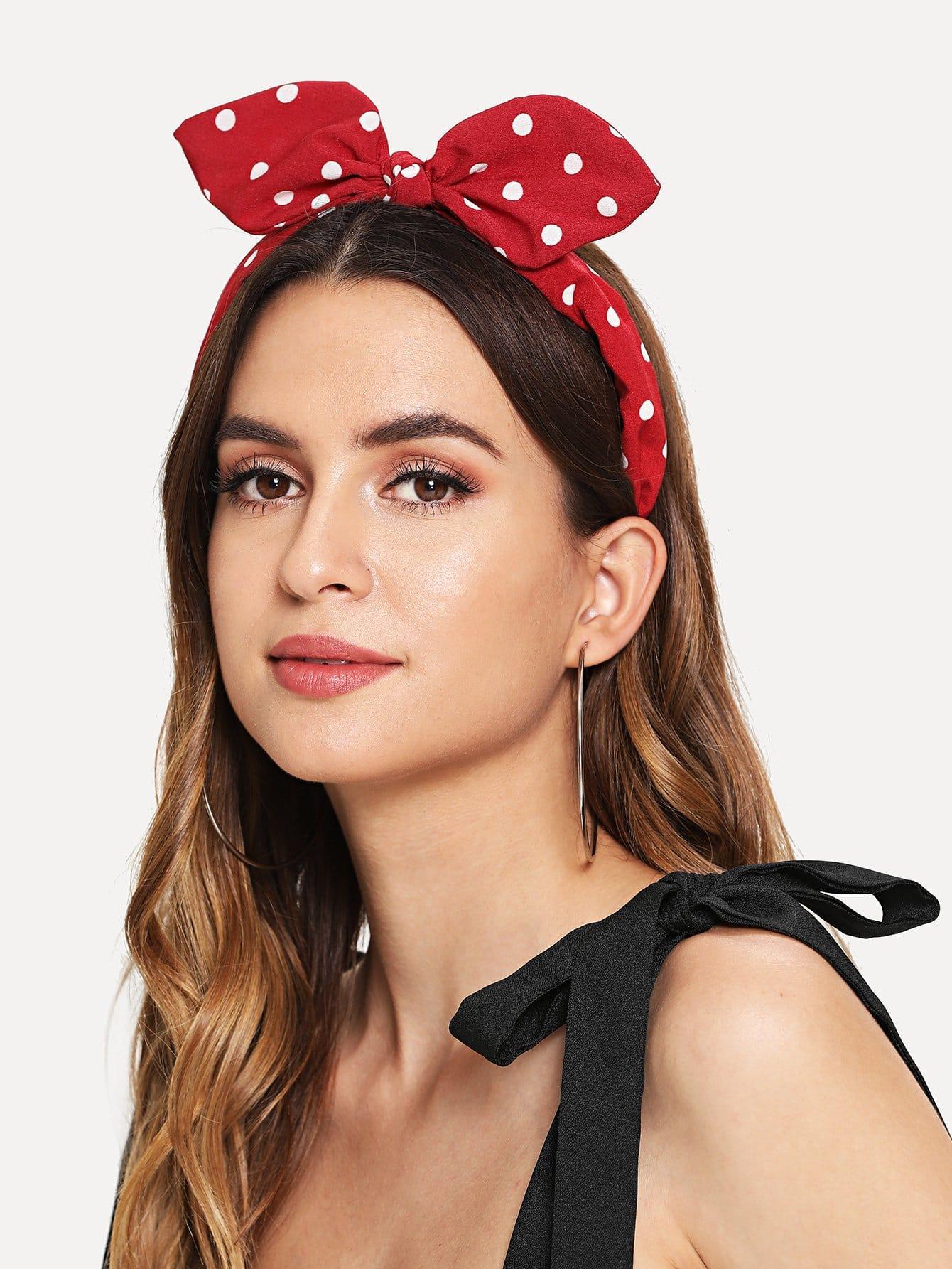 Polka Dot Pattern Headband With Rabbit Ear 1pc kawaii cute lovely girls stretch ear turban knot hairband rabbit bow headband hair band accessories