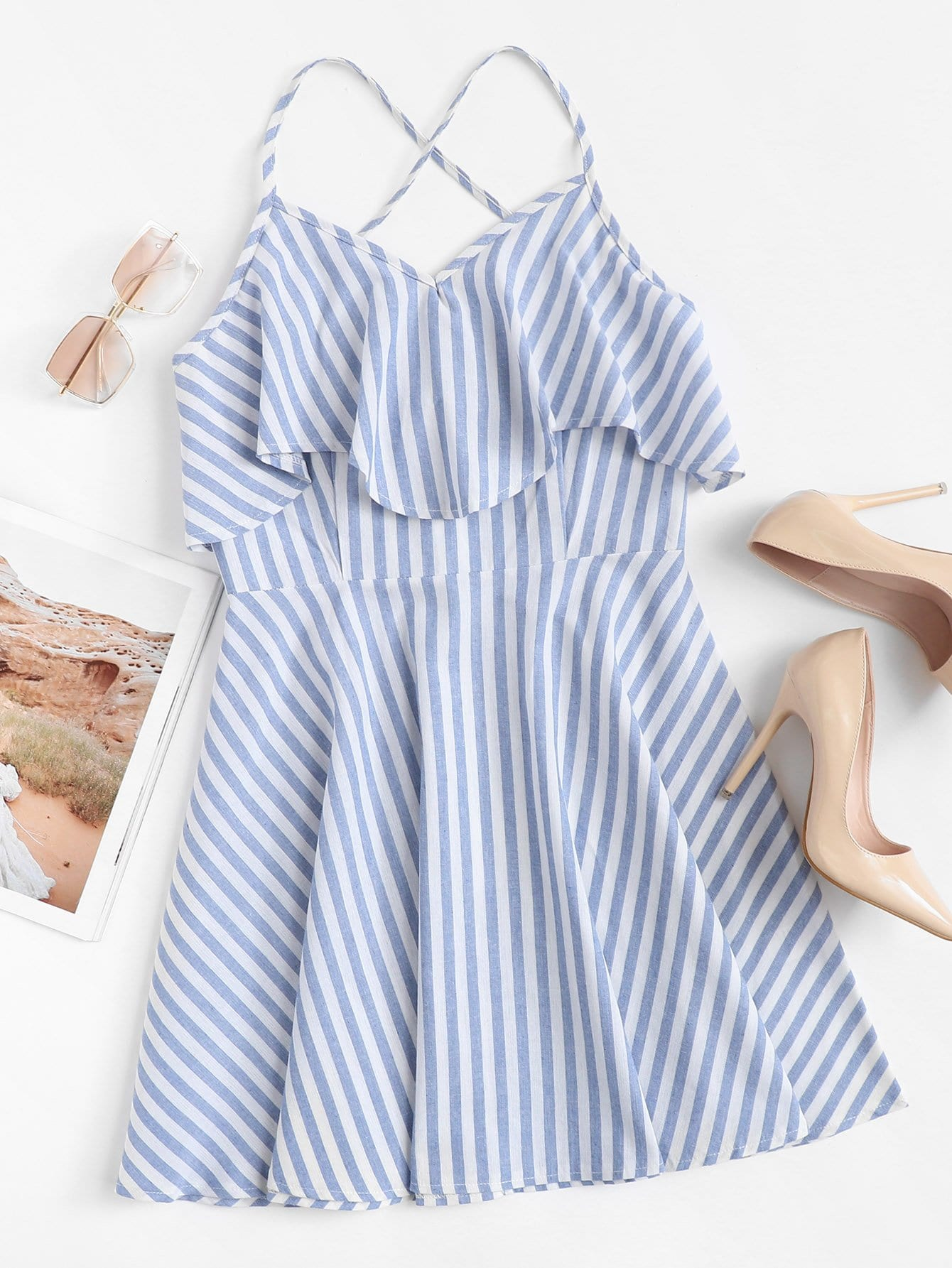 Criss Cross Back Striped Tiered Dress