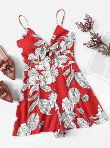 Floral Print Knot Front Cami Romper