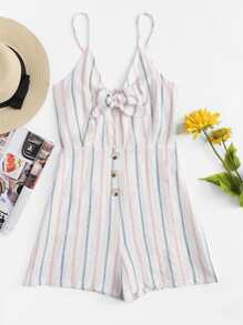 Knot Front Striped Cami Romper