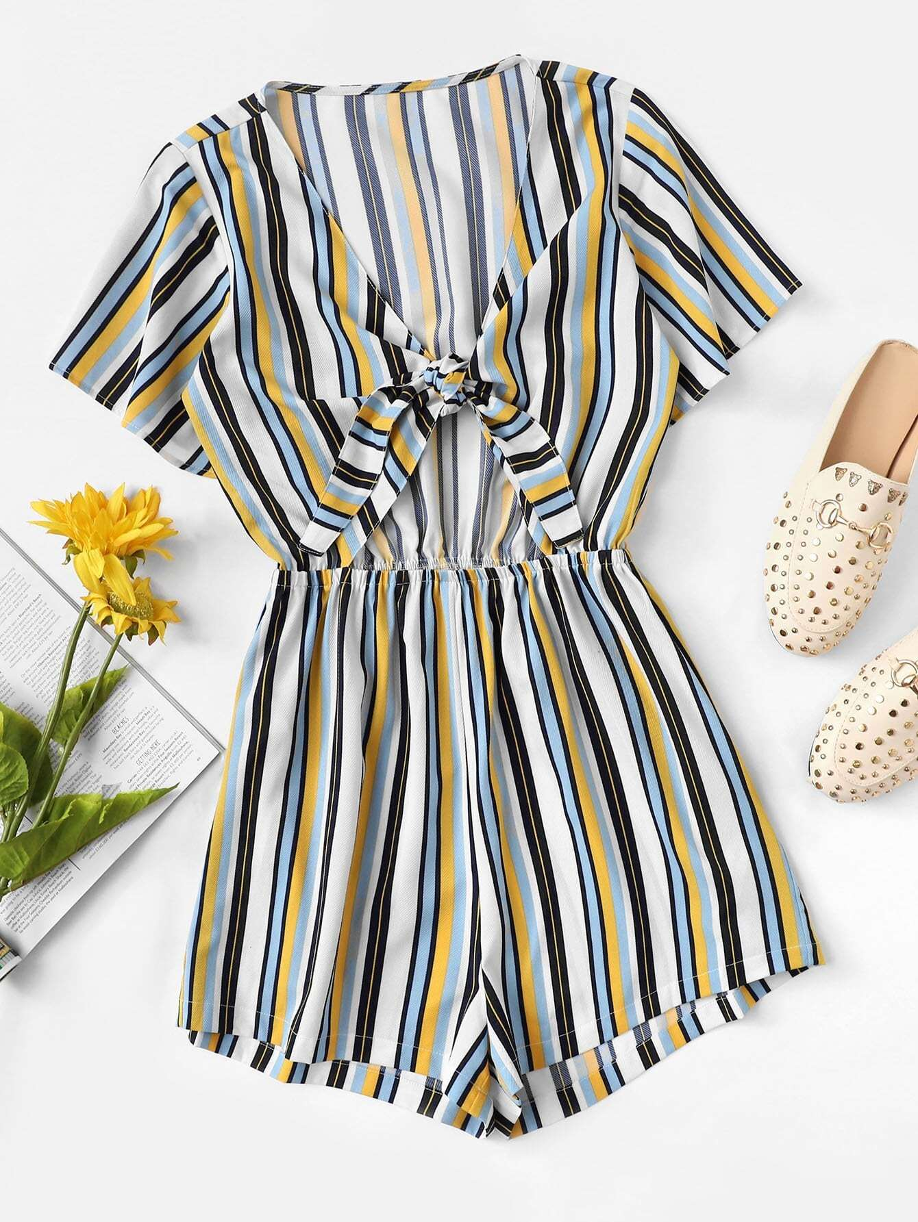 Knot Front Striped Romper