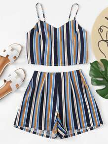 Striped Pleated Cami Top With Shorts