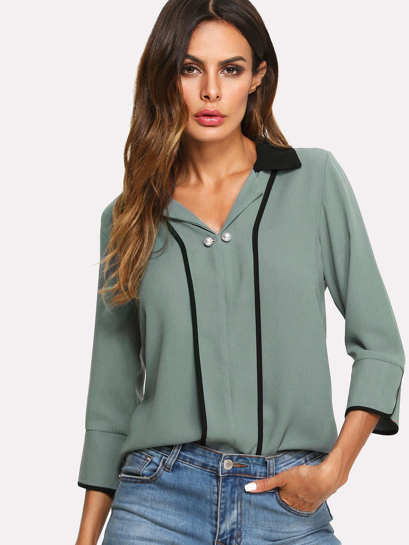 Купить Блуза с украшениями из жемчужин, Andy, SheIn