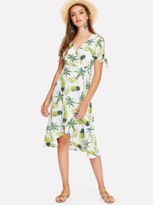 Pineapple Print Knot Wrap Dress