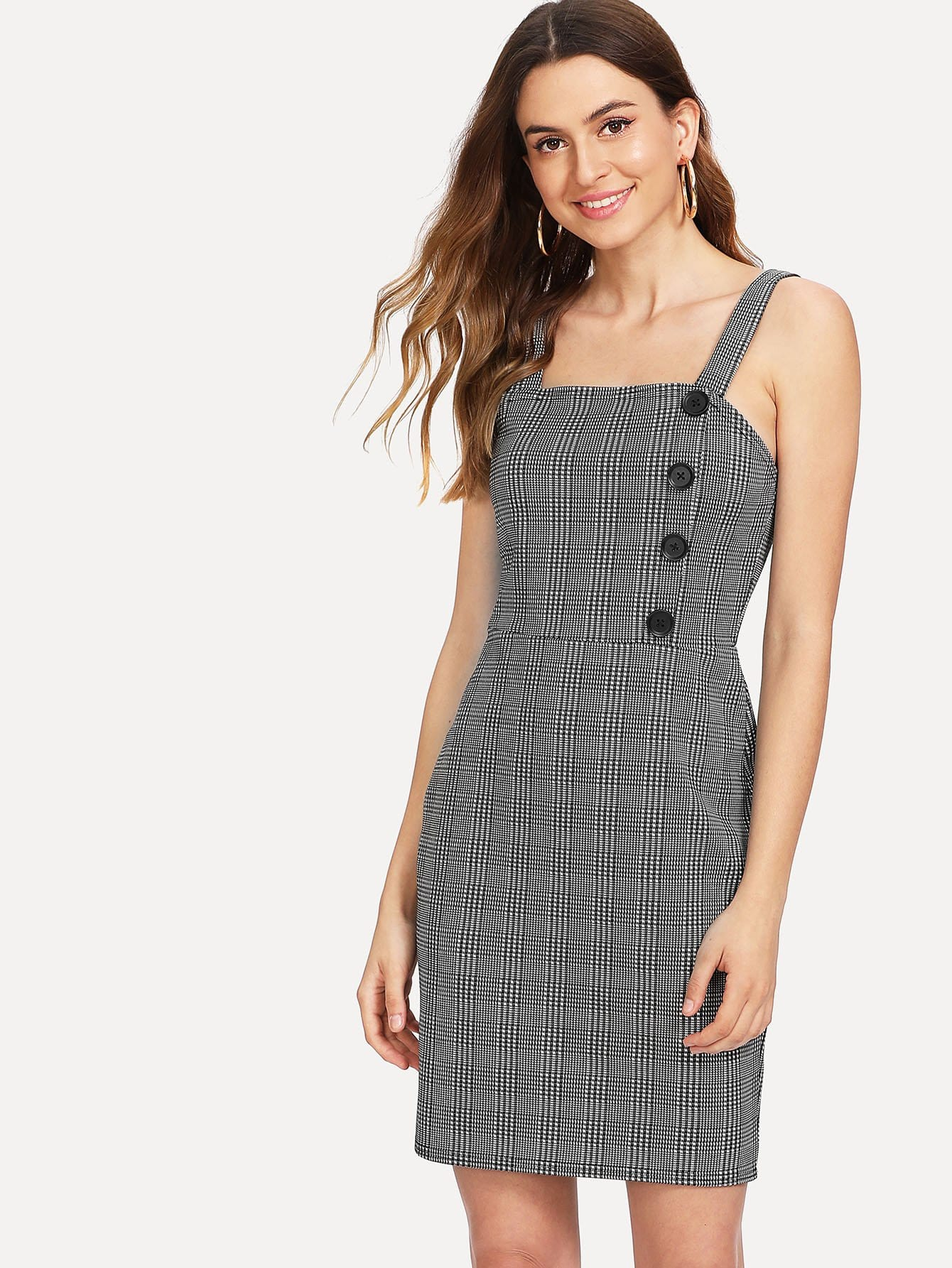 Single Breasted Side Checked Dress single breasted side checked dress