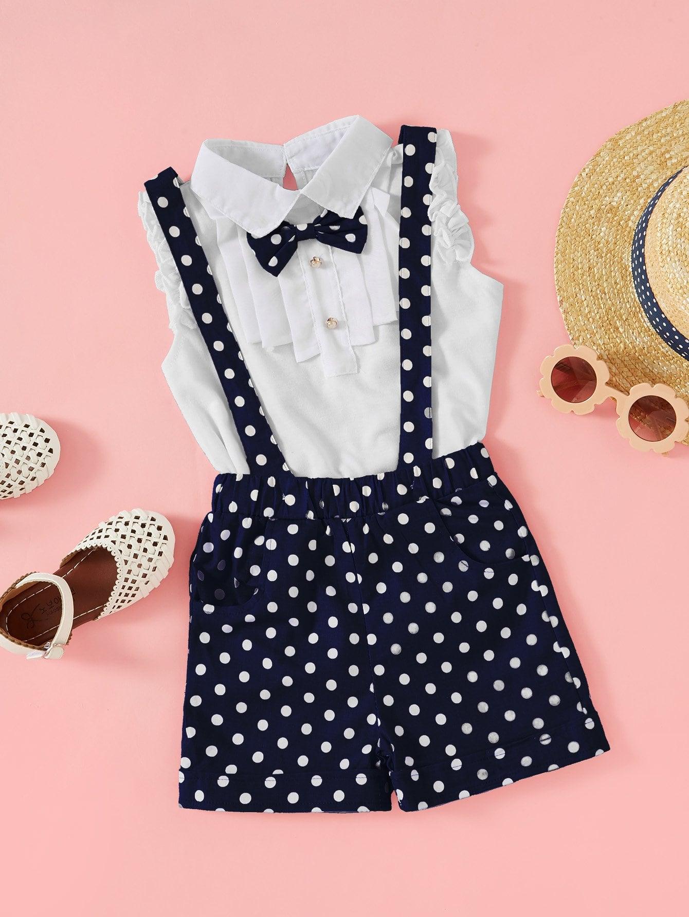 Небольшие точки Контрастные кружева Синий Комплекты одежды для девочек из 2 вещей от SheIn
