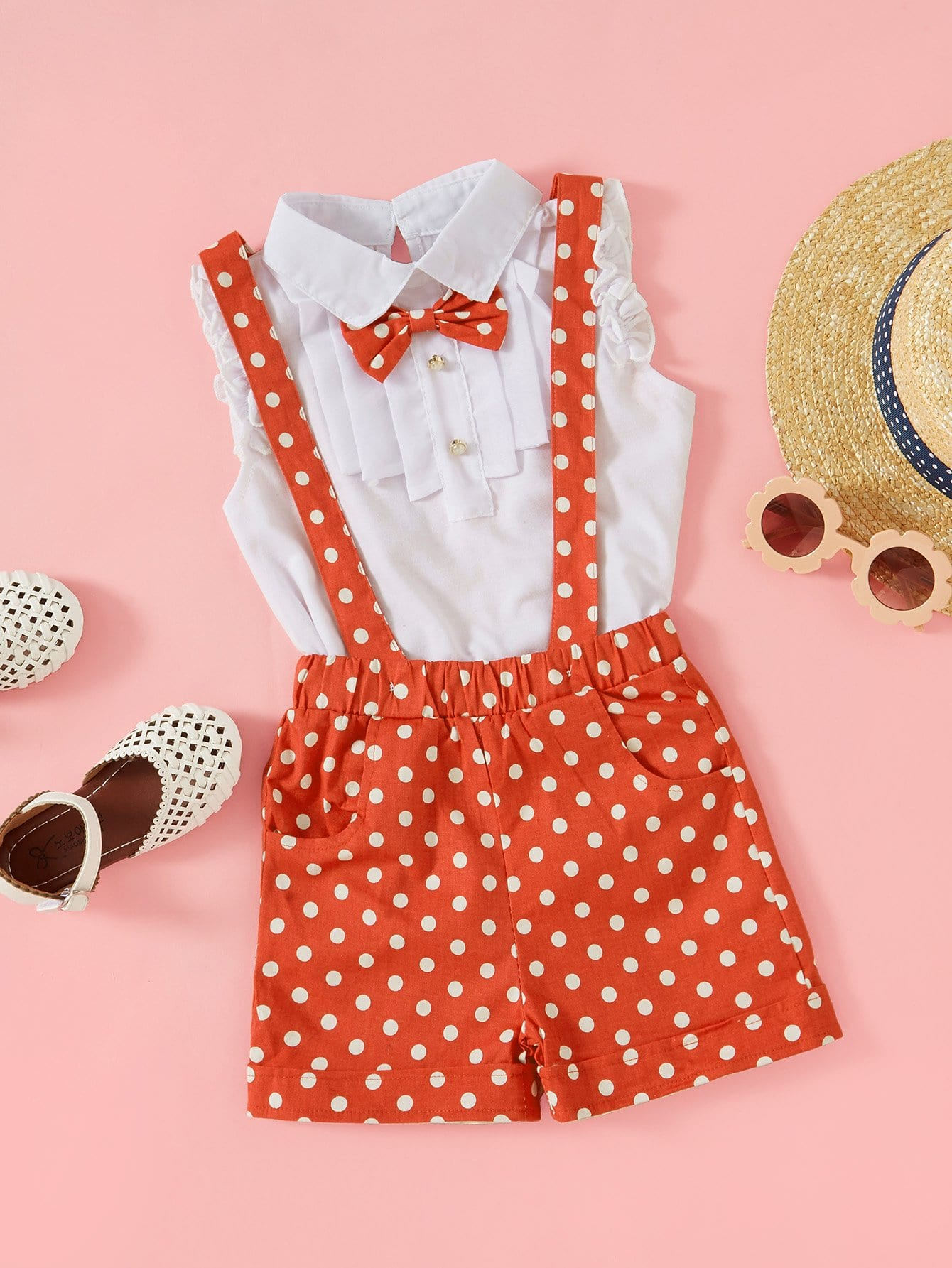 Girls Ruffle-Sleeve Bow Top With Polka Dot Overall Shorts