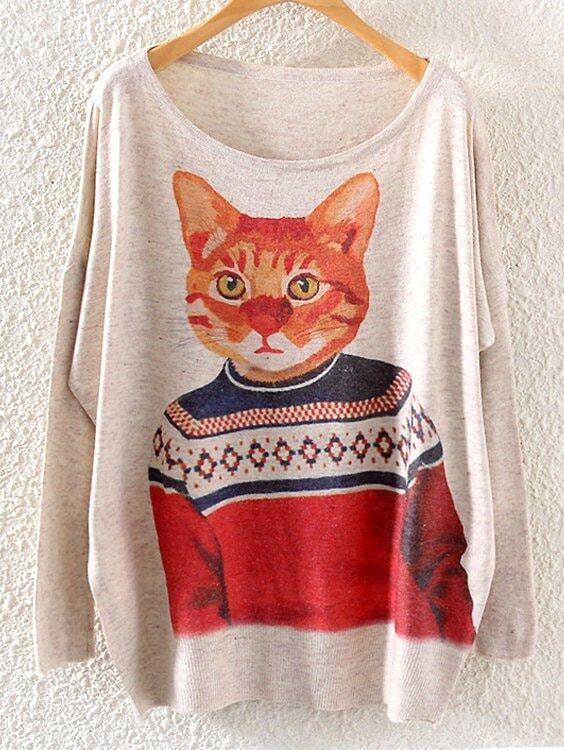 Cat Pattern Drop Shoulder Slub Sweater