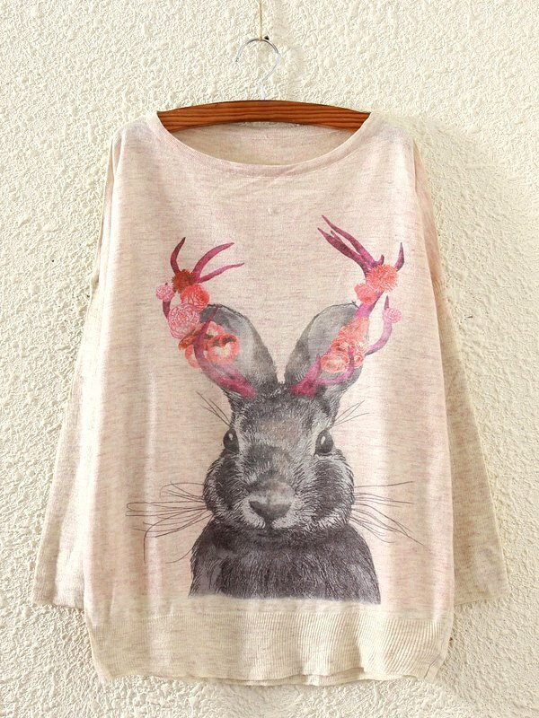Rabbit Pattern Drop Shoulder Slub Sweater